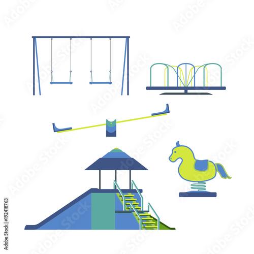 Children Playground Equipment isolated Set