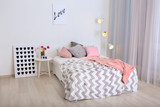 Comfortable double bed in modern stylish interior - 192419552