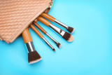 Cosmetic bag with different brushes of professional makeup artist on color background - 192419945