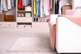 Cozy sofa and big wardrobe in dressing room - 192420185