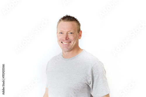 portrait of young man 30 his 30s posing happy and confident smiling isolated on white background