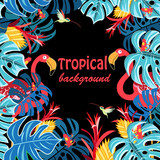 Tropical background with leaves and flamingo - 192421167