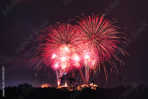 Fotobehang Thailand Fireworks show at Phranakorn Khiri palace for celebration, Phetchaburi, Thailand