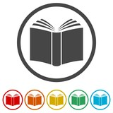 Fototapety Book vector icon, 6 Colors Included