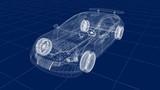 Transparent car design, wire model.3D illustration. My own car design. - 192429316