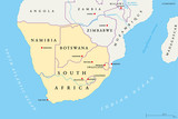 Southern Africa region political map. Southernmost region of African continent. South Africa, Namibia, Botswana, Swaziland and Lesotho. With capitals and borders English labeling. Illustration. Vector - 192430186