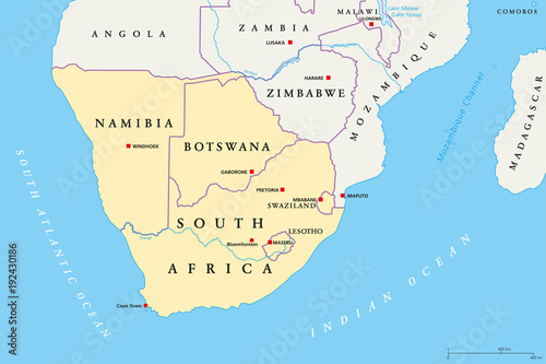 Southern Africa region political map. Southernmost region of African continent. South Africa, Namibia, Botswana, Swaziland and Lesotho. With capitals and borders English labeling. Illustration. Vector