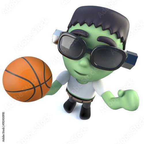 3d Funny cartoon Halloween frankenstein monster holding a basketball