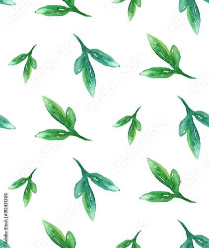 Watercolor greenery pattern. Green summer background