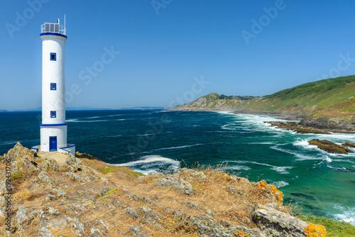 Fotobehang Vuurtoren Lighthouse of cape Home, Pontevedra, Spain
