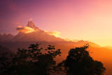 Scenic landscape with mountain peak Machapuchare, Nepal on sunrise.