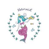 Mermaid Mythological Creature Mermaid Holding A Sea Shell  Illustration    Wall Sticker