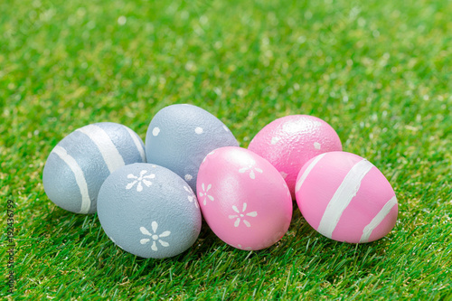Poster Gras easter eggs on the grass