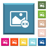 Horizontal flip image white icons on edged square buttons - 192437141