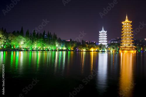 Fotobehang Guilin Sun and Moon Pagoda at Guiling - China - Night View