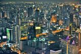 View of the city of Bangkok, Thailand after sunset