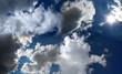 Blue sky with white clouds. Sunny landscape.
