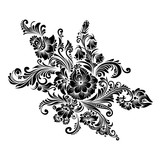 Printblack and white floral ornament in folk style  - 192439742