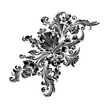 black and white floral ornament in folk style  - 192439748