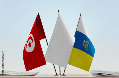 Aluminium Canarische Eilanden Flags of Tunisia and Canary Islands with a white flag in the middle