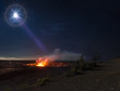 """Lunar Limelight""  Full moon illuminates the Halemauamau crater on Hawaii's Big Island."