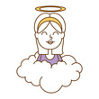 little girl angel with halo over cloud vector illustration design - 192448386
