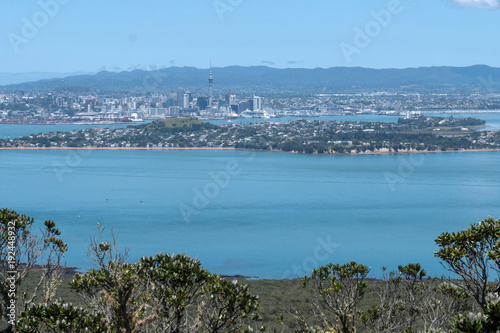 Fotobehang Blauwe jeans Rangitoto Volcano Auckland New Zealand. View on Auckland coast