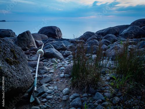 Aluminium Zwart Buoy on a stick that has washed ashore