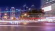 Quadro Night scene of urban road in Shanghai