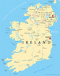 Ireland and Northern Ireland political map with capitals Dublin and Belfast, borders, important cities, rivers and lakes. Island in the North Atlantic Ocean. English labeling. Illustration. Vector. - 192451338