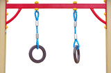 gymnastic ring hangs on white background
