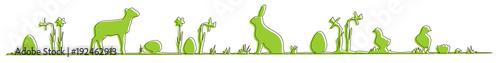 Grünes Osterbanner mit Hase, Lamm und Küken