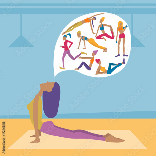 Sticker Young woman in yoga pose thinking about healthy life, other exercises. Vector illustration in gym.