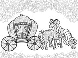 Carriage Pumpkin And Horses Transport For The King Childrens Anti Stress Coloring Book  Wall Sticker