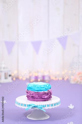 Purple ruffled birthday cake