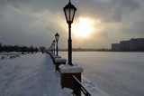 Moscow River. Winter. Embankment. Lamp.