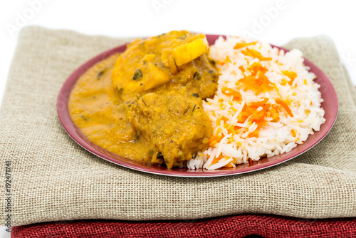 Handmade Indian curry chicken rice