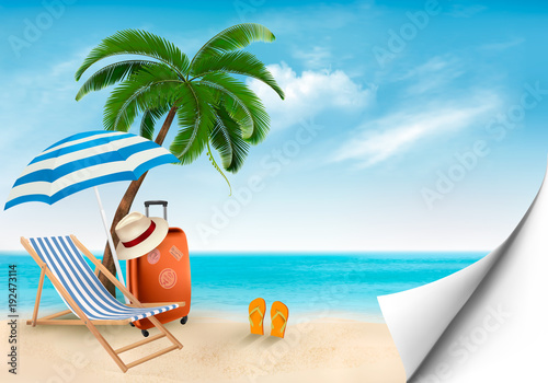 Fotobehang Blauw Seaside vacation vector. Travel items on the beach.