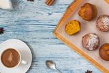 Coffee, Pumpkin, muffin, orange, food, homemade, - 192474992