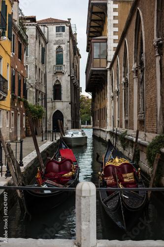 Foto op Plexiglas Venetie Canal with gondolas in Venice, Italy