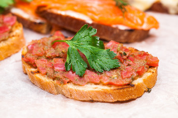 Toasted toast with salmon and cheese