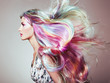 Leinwanddruck Bild - Beauty Fashion Model Girl with Colorful Dyed Hair. Girl with perfect Makeup and Hairstyle. Model with perfect Healthy Dyed Hair. Rainbow Hairstyles