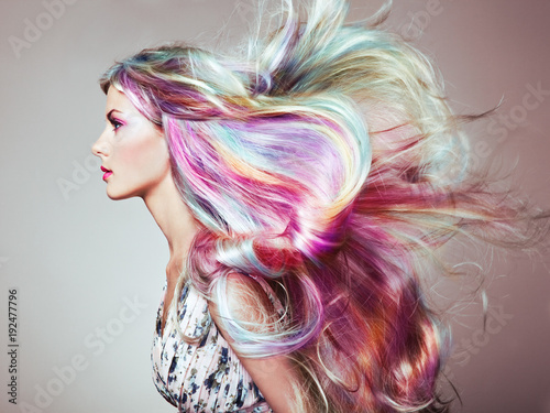 Leinwanddruck Bild Beauty Fashion Model Girl with Colorful Dyed Hair. Girl with perfect Makeup and Hairstyle. Model with perfect Healthy Dyed Hair. Rainbow Hairstyles