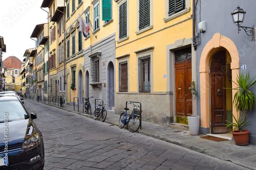 Fototapeta FLORENCE, ITALY - SEPTEMBER 17, 2017: Deserted street in Florence