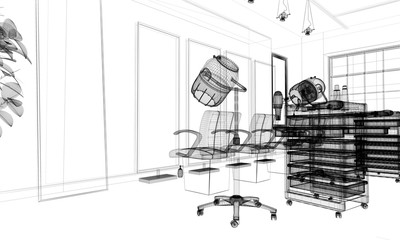 Hair salon, Parrucchiere, Acconciatura, illustrazione 3d