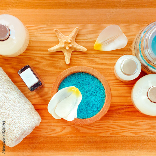 Papiers peints Spa Spa massage products on wooden background.