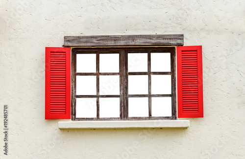 Red wooden window. vintage style