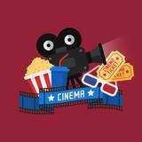 Concept Cinema Popcorn Film Projector Videotape 3d Glasses Tickets - 192486177