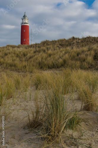 Tuinposter Noordzee Roter Leuchtturm auf Texel