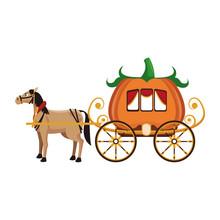 Pumpkin Carriage  Horse Cartoon Icon  Illustration Graphic Design Sticker